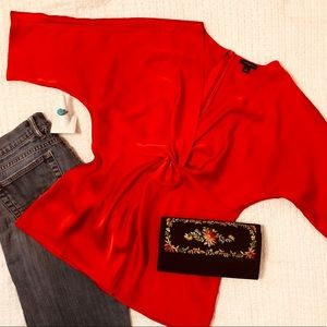 Ann Taylor💋Red 3/4 Sleeve Top